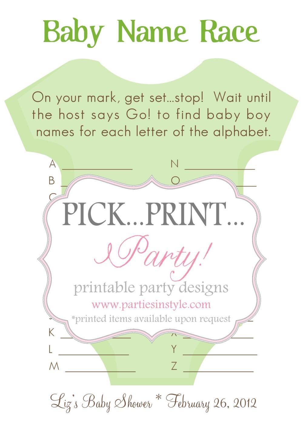 Baby Shower Game - Baby Name Race - Printable DIY