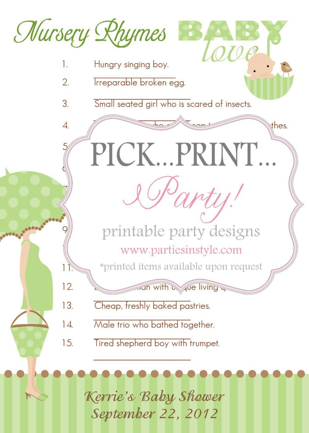 Baby Shower Game - Guess the Nursery Rhyme - Printable DIY