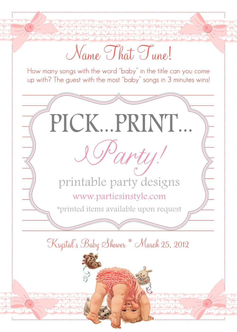 Baby Shower Game - Baby Name That Tune - Printable DIY on ...