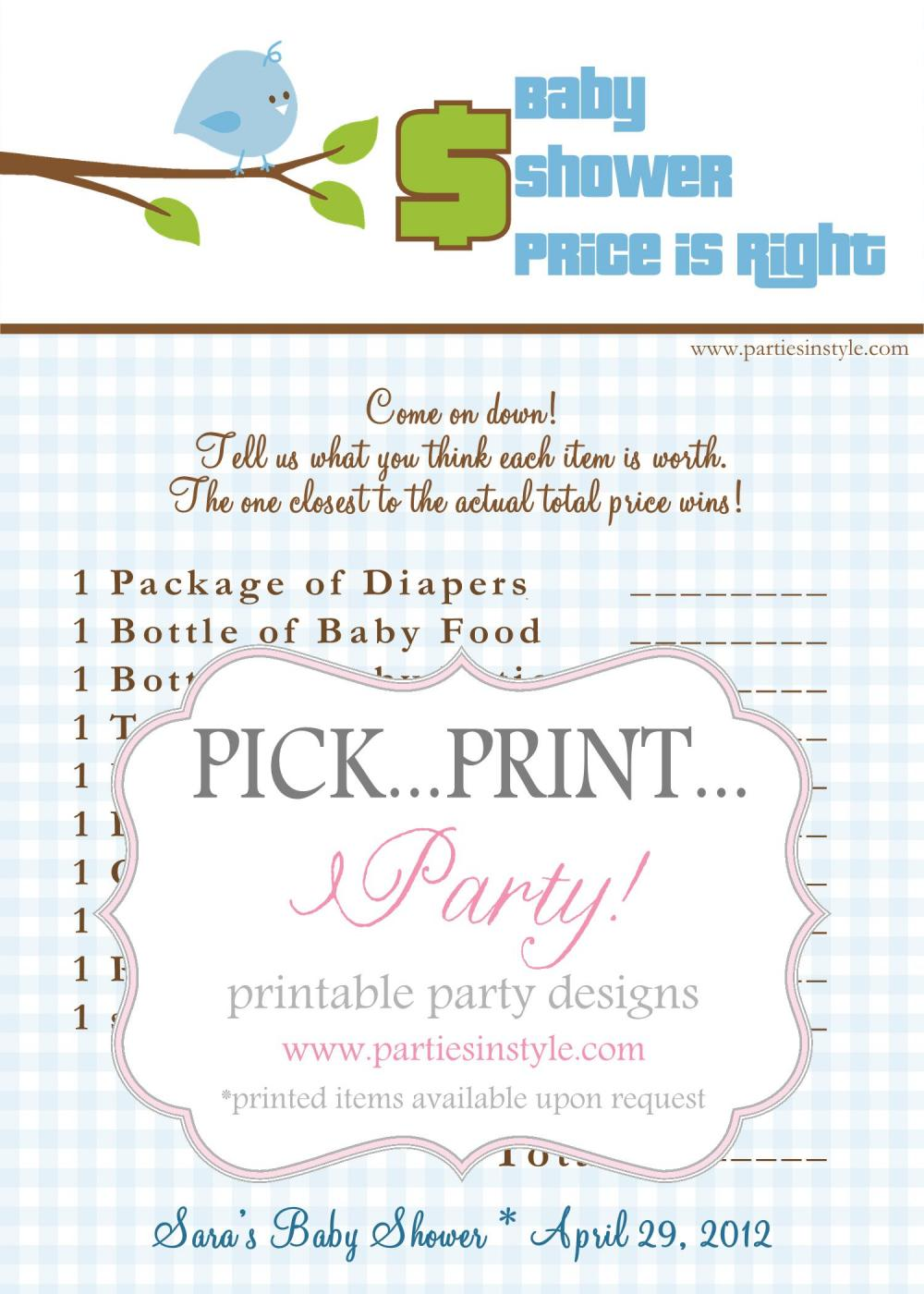 Baby shower game price is right printable diy the for Free printable price is right baby shower game template