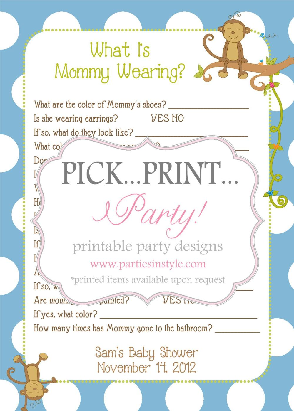 Baby Shower Game - What is Mommy Wearing - Printable DIY