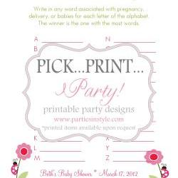 Baby Shower Game - Babies A to Z - Printable DIY