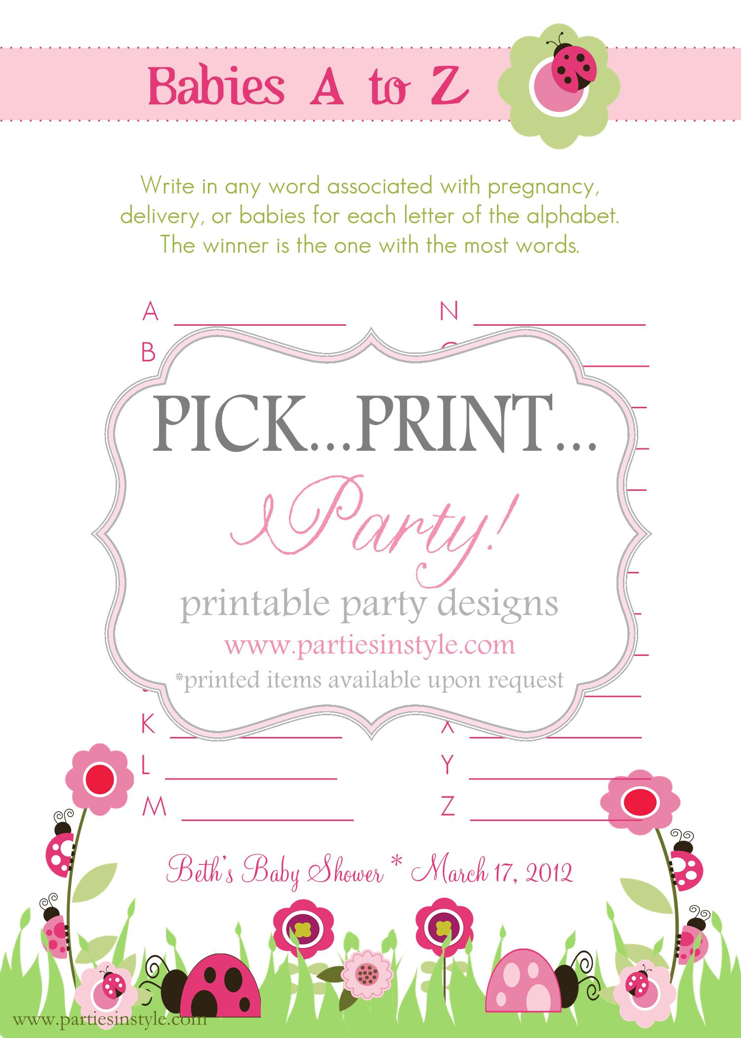 Baby Shower Game Babies A To Z Printable Diy On Luulla