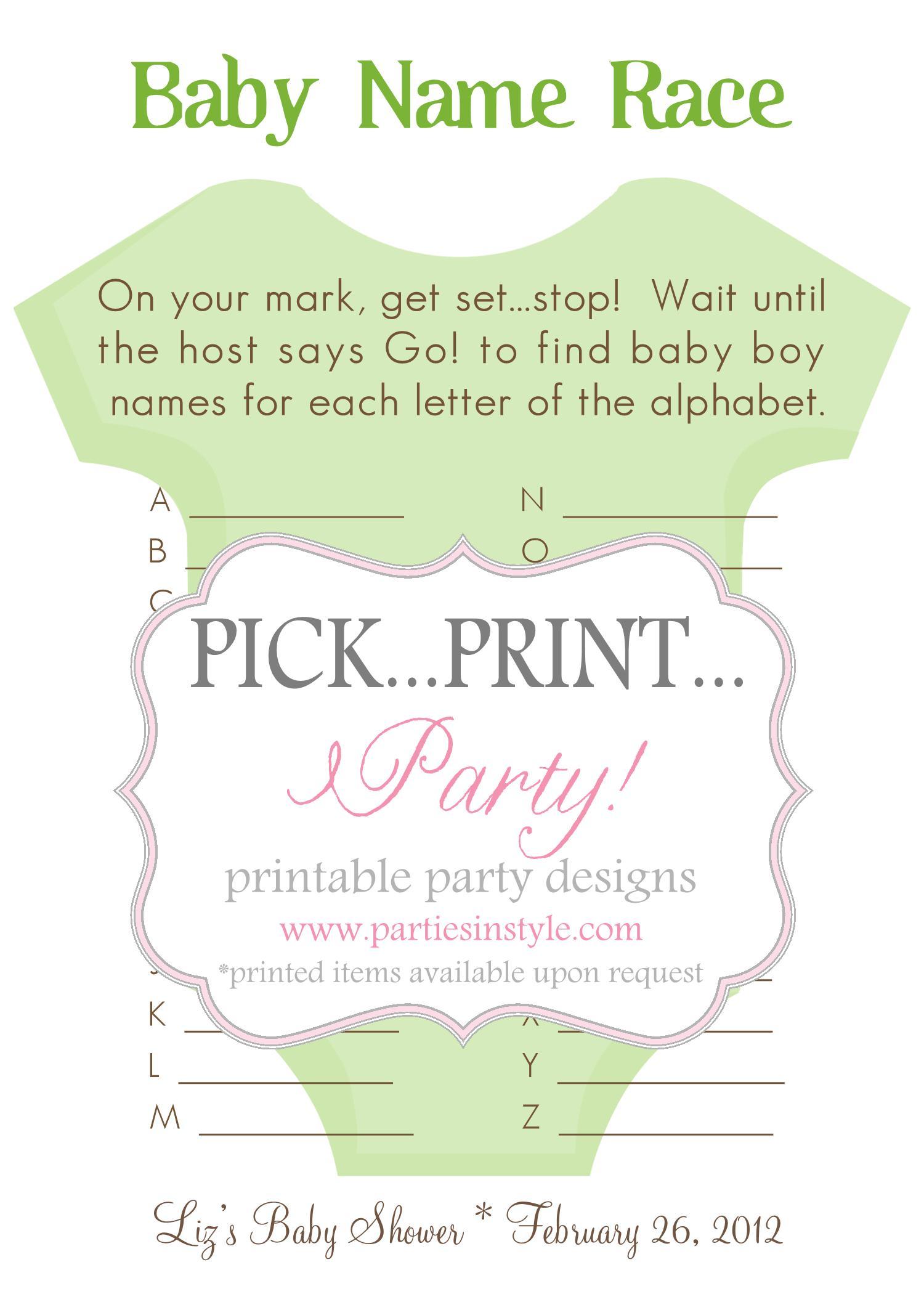 Baby Shower Game - Baby Name Race - Printable DIY on Luulla