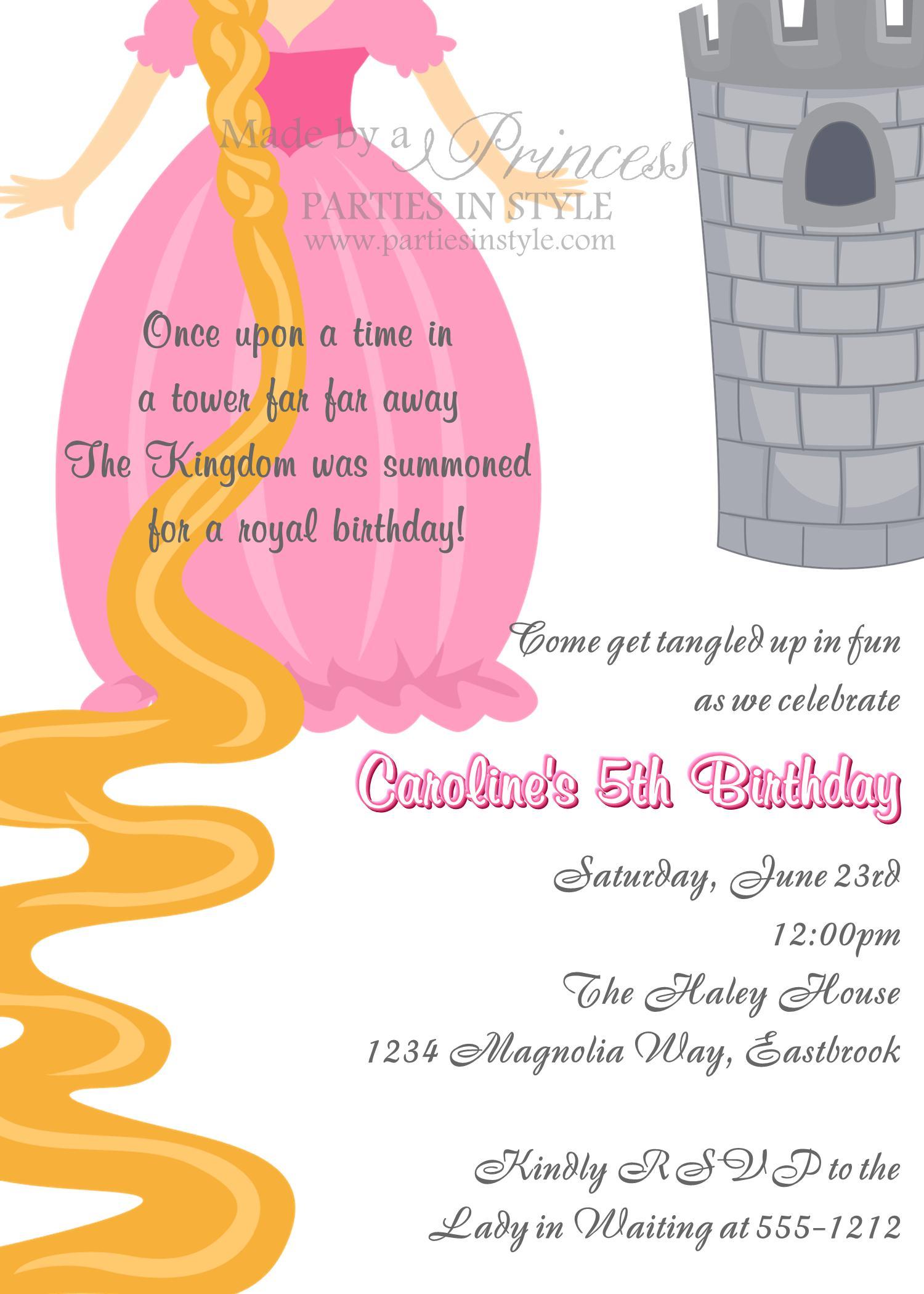 Birthday Invitation - Princess Series Rapunzel - Printable DIY on Luulla